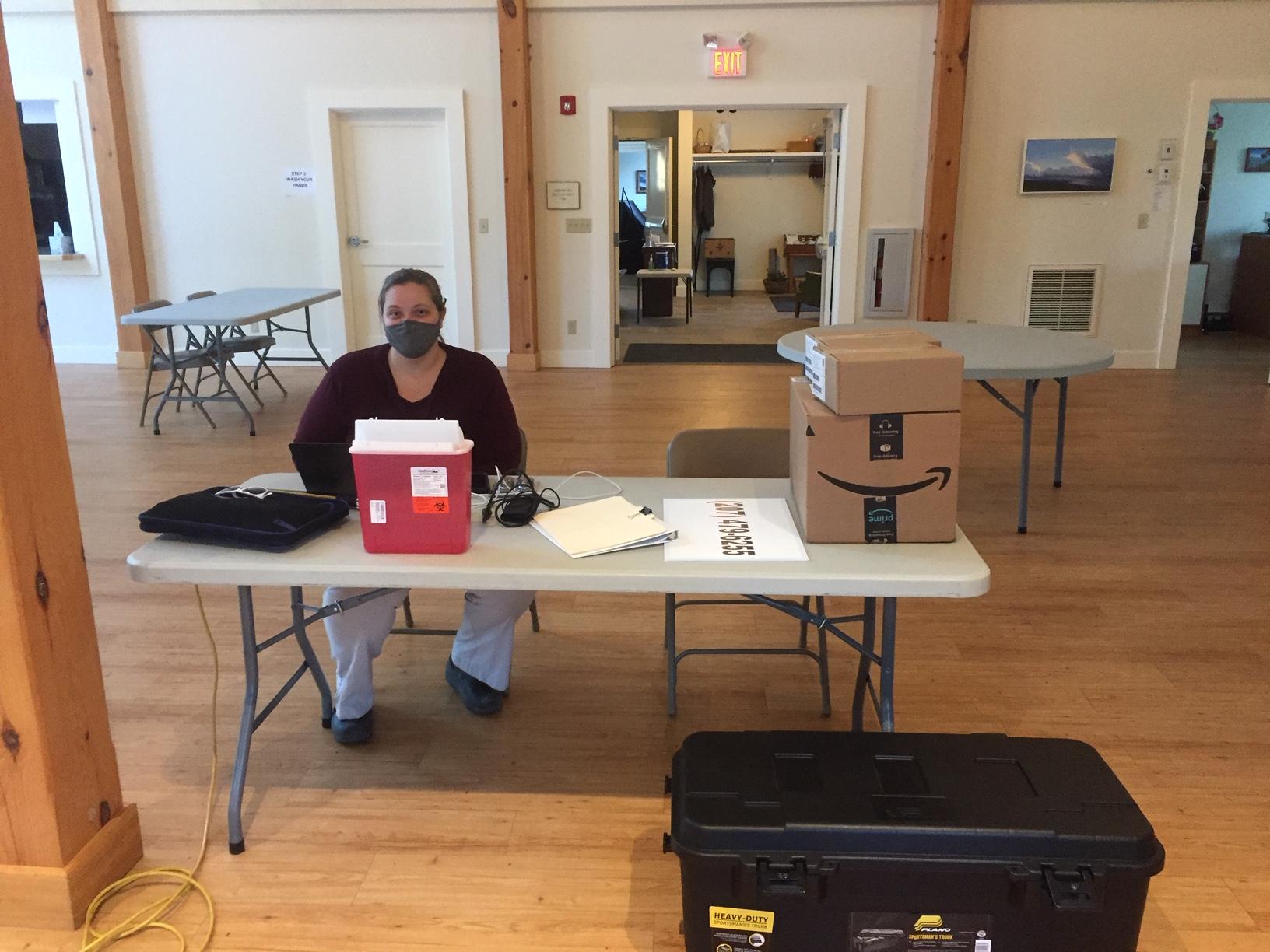 Ashley Pesek running the needle exchange program in Deer Isle